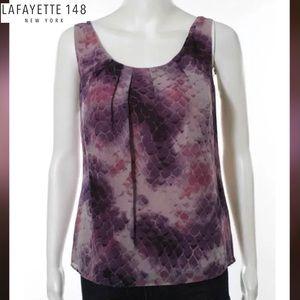 LAFAYETTE 148 Purple Abstract Print Silk Blouse